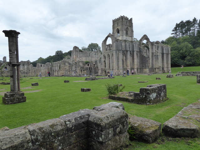 Looking towards the Chapel of the Nine Altars and Huby's Tower at Fountains Abbey