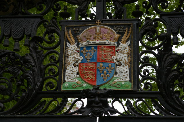 Arms of St John's College, Cambridge, over its entrance on the Backs