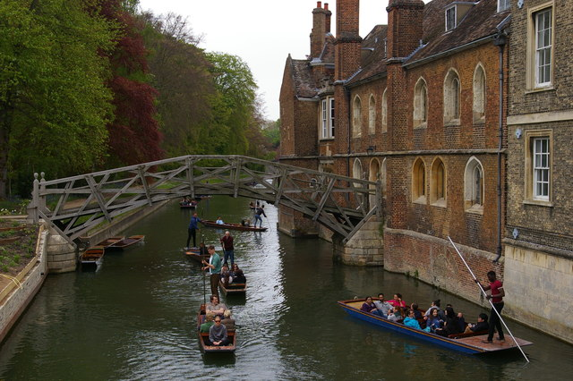 Punting on the Cam, from the Silver Street bridge
