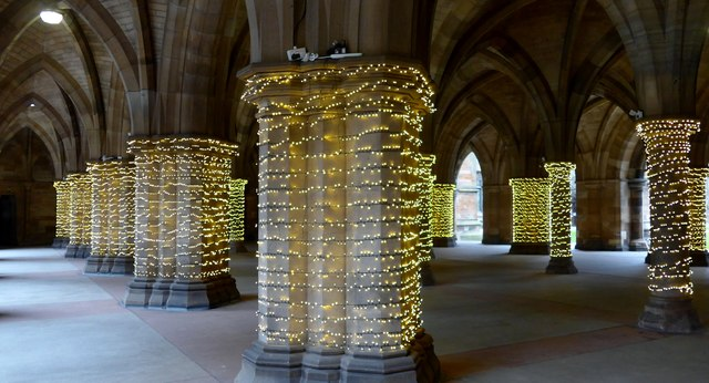 Christmas lights at University of Glasgow cloisters