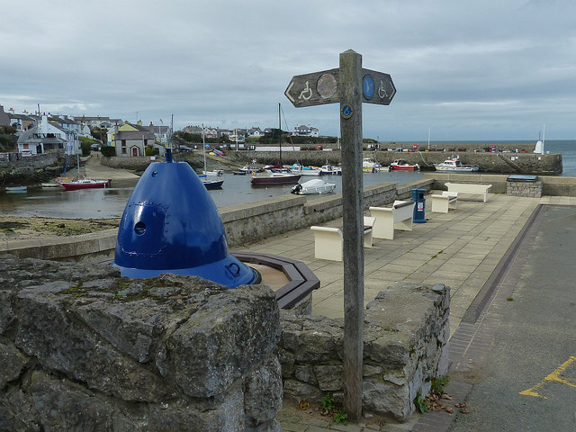 Footpath sign, Cemaes harbour, Anglesey