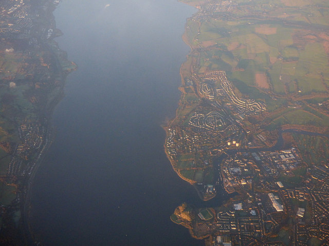 Dumbarton and the Firth of Clyde from the air