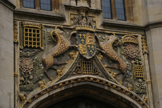 Christ's College, Cambridge: arms over the main gate