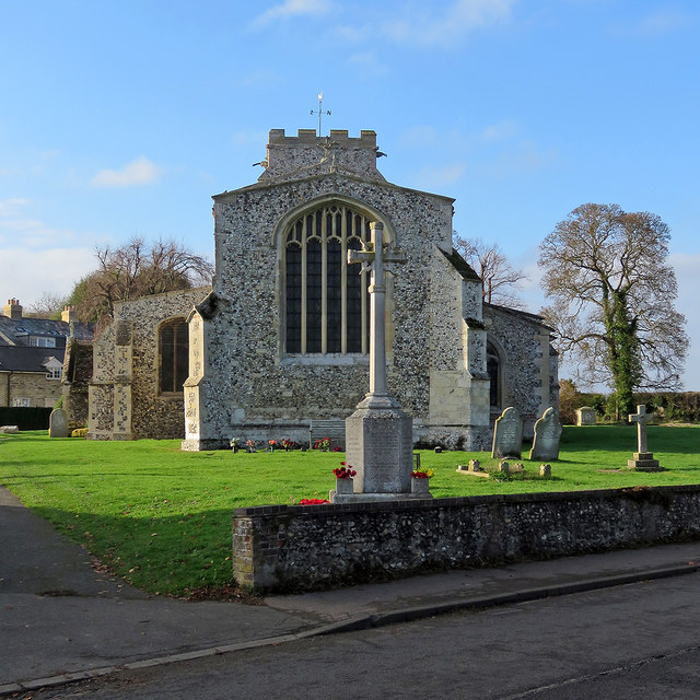 Litlington: War Memorial and St Catherine's Church