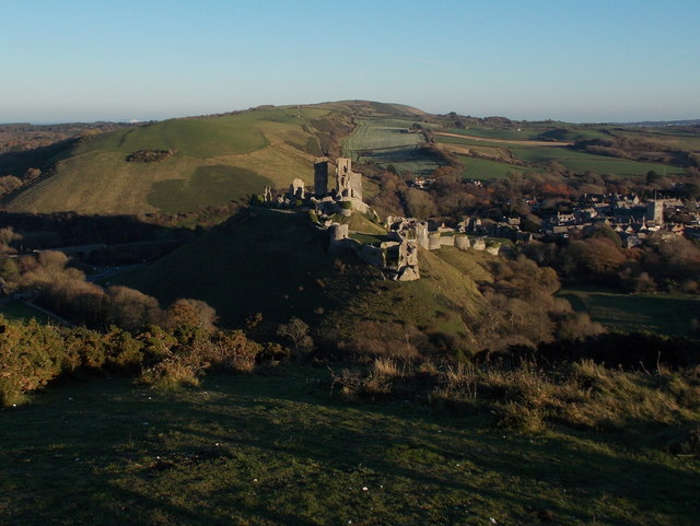 Corfe Castle: the castle from West Hill