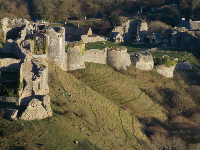 Corfe Castle: the southern outer walls of the castle