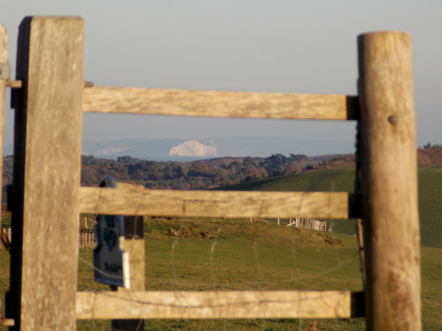 Corfe Castle: a gate with an Isle of Wight view