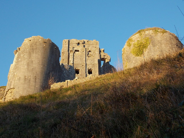 Corfe Castle: looking up at the castle