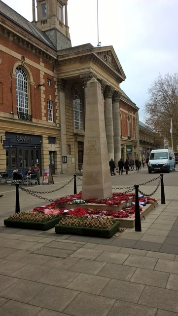 Poppies at the war memorial on Bridge Street, Peterborough
