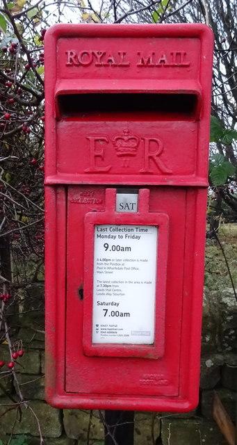 Close up, Elizabeth II postbox on Castley Lane