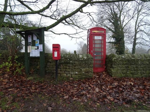 Elizabeth II postbox and phonebox, Leathley