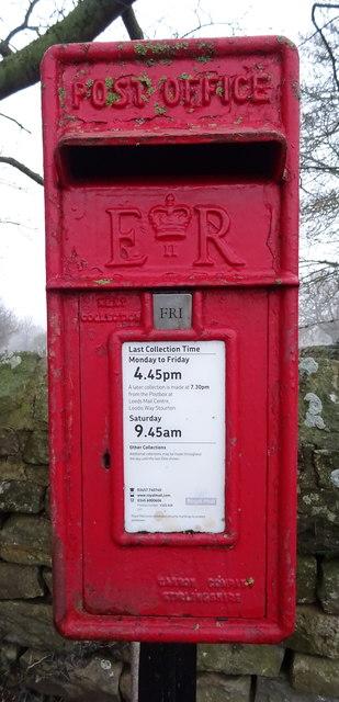 Close up, Elizabeth II postbox, Leathley