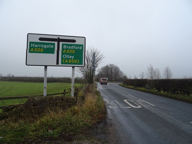 Leathley Lane (B6161) approaching junction with the A658