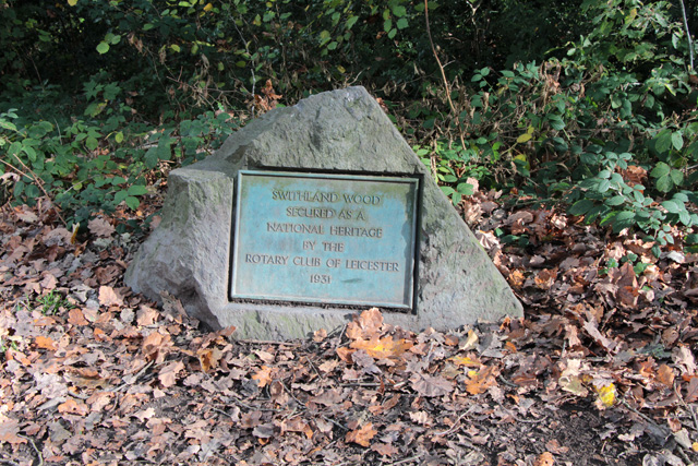 Commemorative plaque in Swithland Wood