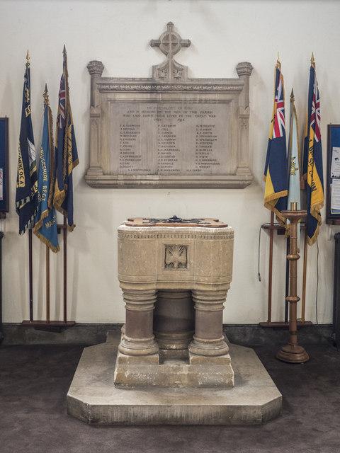 St Peter, March - Font & War Memorial
