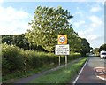 SK9858 : Speed limit and warning sign, A607 north of Navenby by David Smith