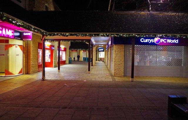 Woolgate at night, Christmas 2016, Witney, Oxon