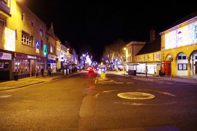 Market Square at night, Christmas 2016, Witney, Oxon