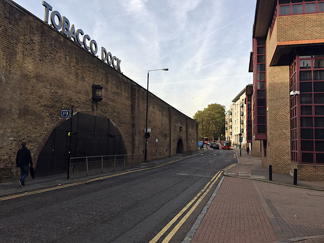 North on Wapping Lane by Tobacco Dock, Wapping