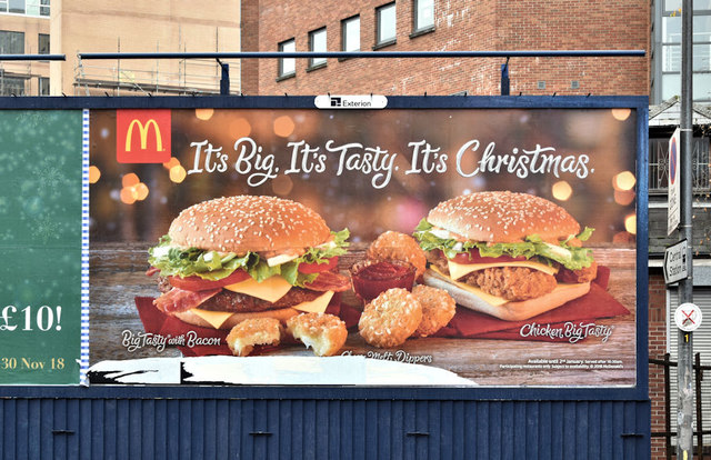 McDonald's Christmas poster, Belfast (December 2018)