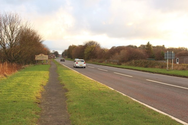 The A192 north of Earsdon