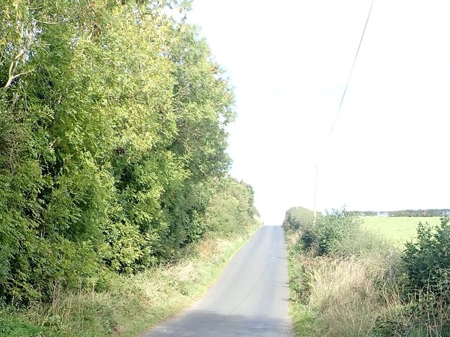 Road from Tawnamore Crossroads ascending towards Ballybinaby Crossroads