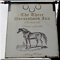 SO0328 : Three Horseshoes Inn name sign, Orchard Street, Brecon by Jaggery