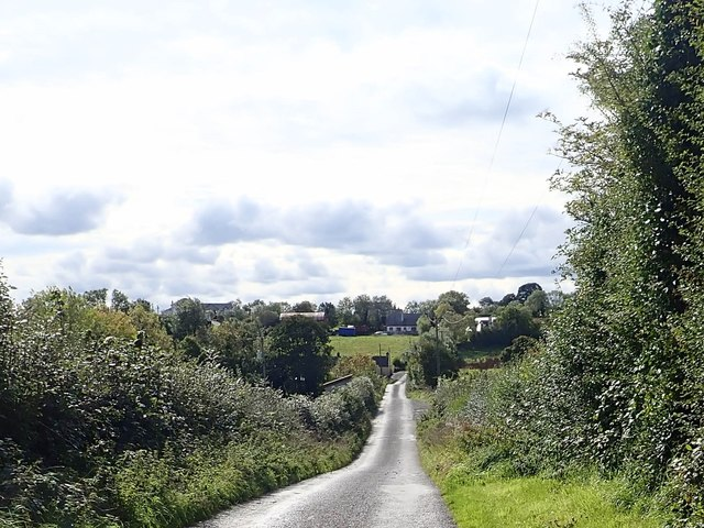 Road descending towards Ballybinaby Bridge and Tawnamore Crossroads