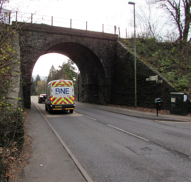 West side of the railway bridge near Ystrad Mynach railway station