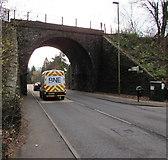 ST1494 : West side of the railway bridge near Ystrad Mynach railway station by Jaggery