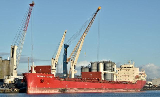 """The """"Federal Alster"""", Belfast harbour (December 2018)"""