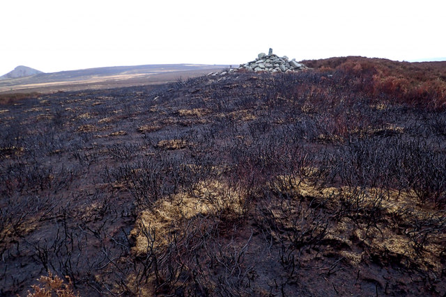 Bronze Age Round Cairn on a scorched moor