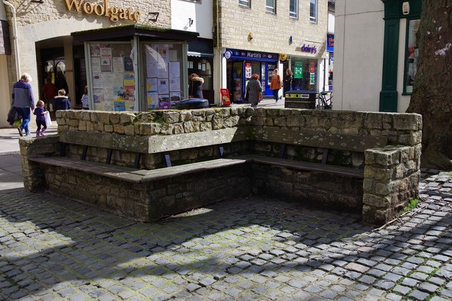 Former seating in Market Square, Witney, Oxon