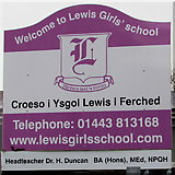 ST1494 : Welcome to Lewis Girls' School, Ystrad Mynach by Jaggery