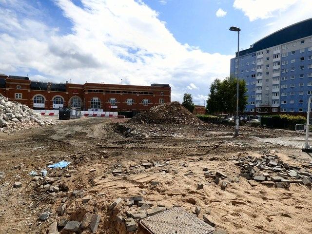 Bus station rubble