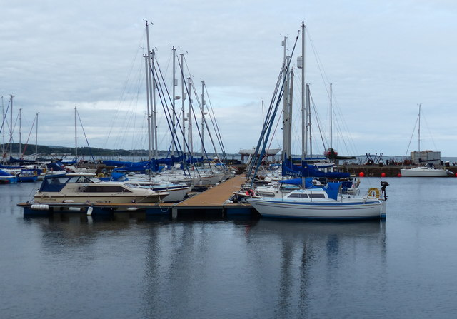 Boats moored in Tayport harbour