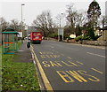 ST1493 : Bus stop and shelter, A472, Ystrad Mynach by Jaggery