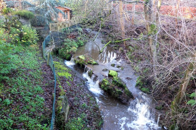 Small waterfalls on the Bavelaw Burn at Malleny Mills