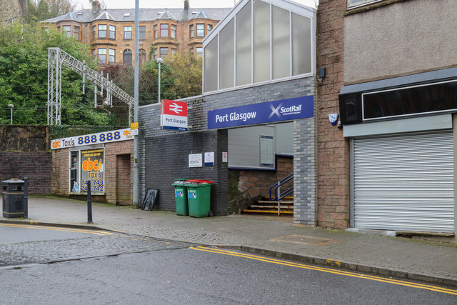 A view of the front entrance to the railway station in Port Glasgow, Inverclyde, Scotland