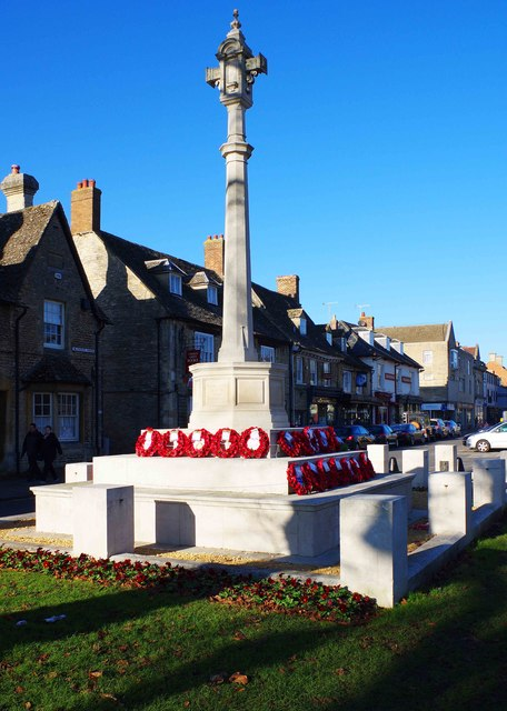 Wreaths around War Memorial, Church Green, Witney, Oxon