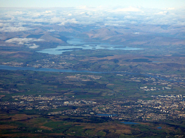 Paisley, Bishopton, the River Clyde and Loch Lomond from the air