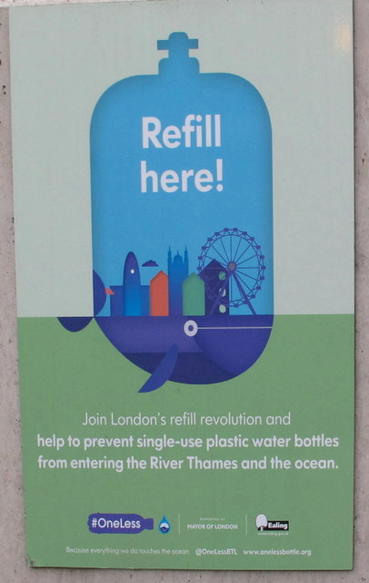 """Refill here"" sign on drinking fountain, North Acton tube station"