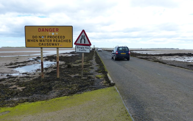 Heading east along the Lindisfarne causeway