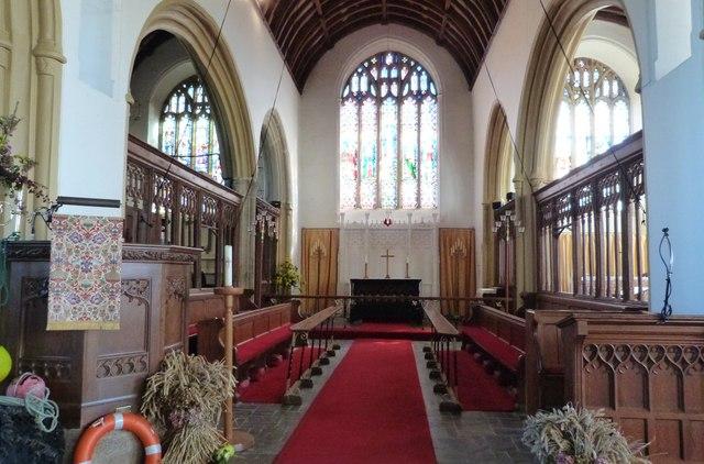 Interior of All Saints church, Malborough, Devon