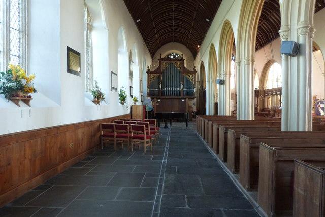 North aisle, All Saints church, Malborough, Devon