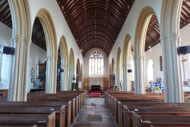 The nave, All Saints church, Malborough, Devon