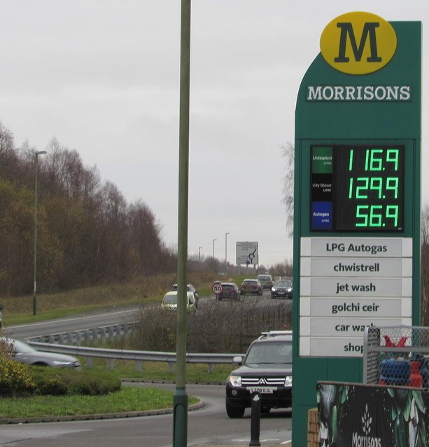 December 10th 2018 fuel prices at Morrisons Refuel, Bargoed