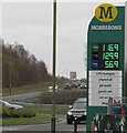 ST1599 : December 10th 2018 fuel prices at Morrisons Refuel, Bargoed by Jaggery