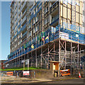 ST2987 : Recladding a tower block, Hillview, Gaer, Newport by Robin Drayton