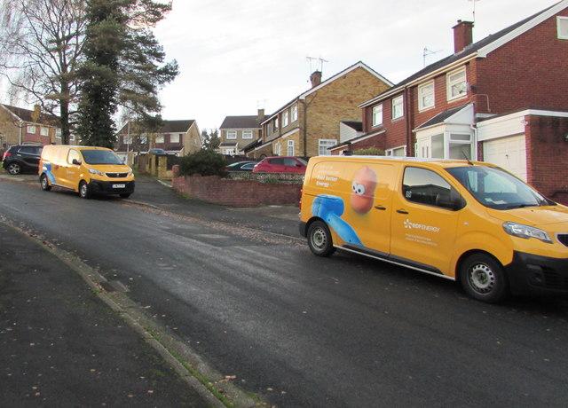 Yellow vans, Laurel Crescent, Malpas, Newport